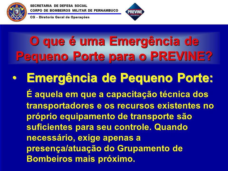 SECRETARIA DE DEFESA SOCIAL CORPO DE BOMBEIROS MILITAR DE PERNAMBUCO CG – Diretoria Geral de Operações 3 O que é uma Emergência de Pequeno Porte para o PREVINE.