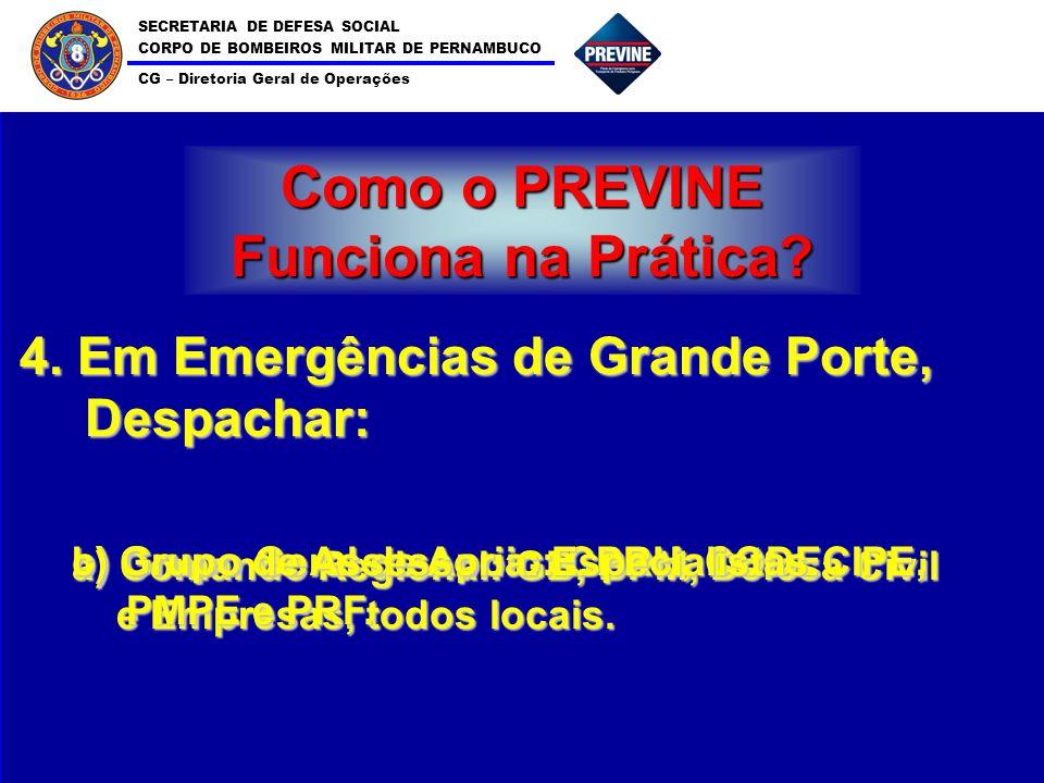 SECRETARIA DE DEFESA SOCIAL CORPO DE BOMBEIROS MILITAR DE PERNAMBUCO CG – Diretoria Geral de Operações 8 Como o PREVINE Funciona na Prática? 4. Em Eme