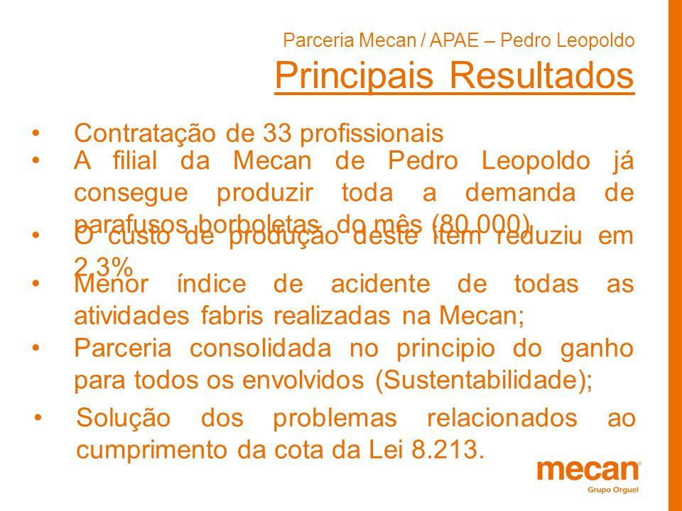 Parceria Mecan / APAE – Pedro Leopoldo Principais Resultados Contratação de 33 profissionais A filial da Mecan de Pedro Leopoldo já consegue produzir