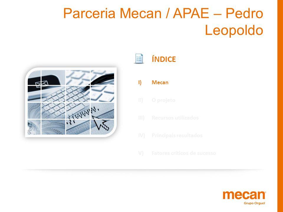 Parceria Mecan / APAE – Pedro Leopoldo ÍNDICE I)Mecan II)O projeto III)Recursos utilizados IV)Principais resultados V)Fatores críticos de sucesso