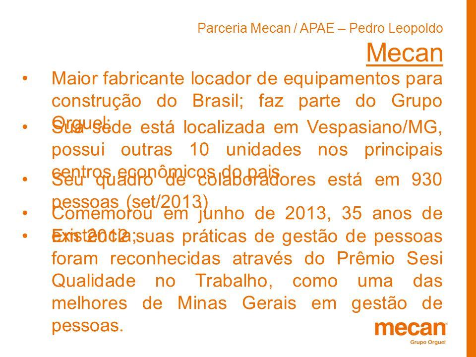 Parceria Mecan / APAE – Pedro Leopoldo Mecan Maior fabricante locador de equipamentos para construção do Brasil; faz parte do Grupo Orguel; Sua sede e