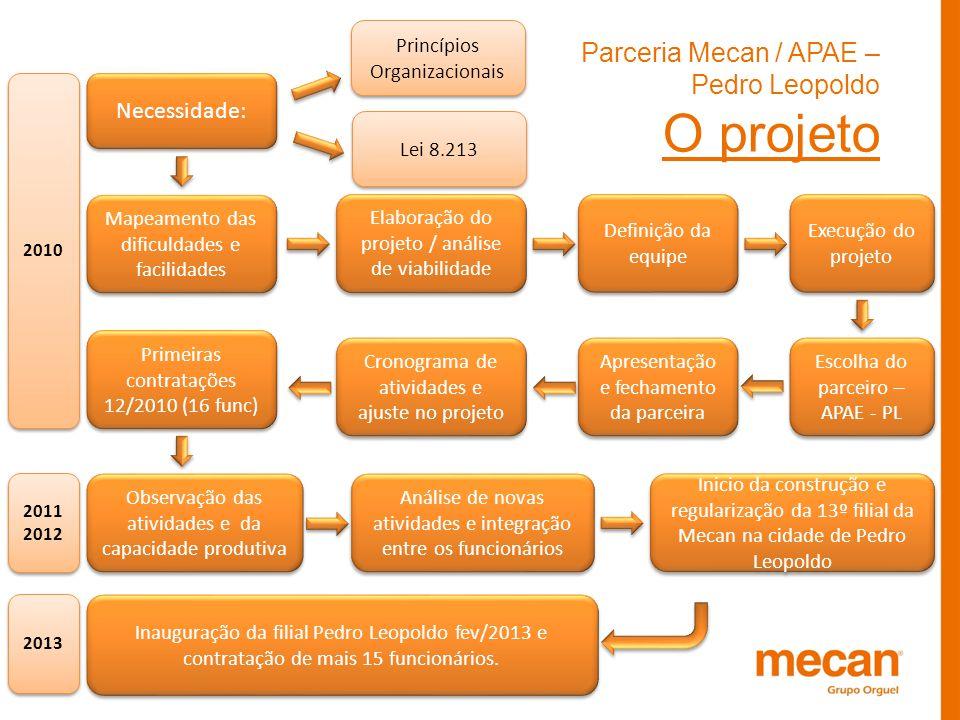 Parceria Mecan / APAE – Pedro Leopoldo O projeto Necessidade: Lei 8.213 Princípios Organizacionais Mapeamento das dificuldades e facilidades Elaboraçã