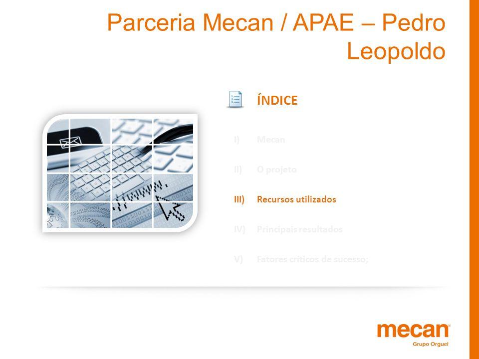 Parceria Mecan / APAE – Pedro Leopoldo ÍNDICE I)Mecan II)O projeto III)Recursos utilizados IV)Principais resultados V)Fatores críticos de sucesso;
