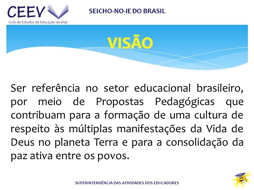 VISÃO SEICHO-NO-IE DO BRASIL SUPERINTENDÊNCIA DAS ATIVIDADES DOS EDUCADORES Ser referência no setor educacional brasileiro, por meio de Propostas Peda