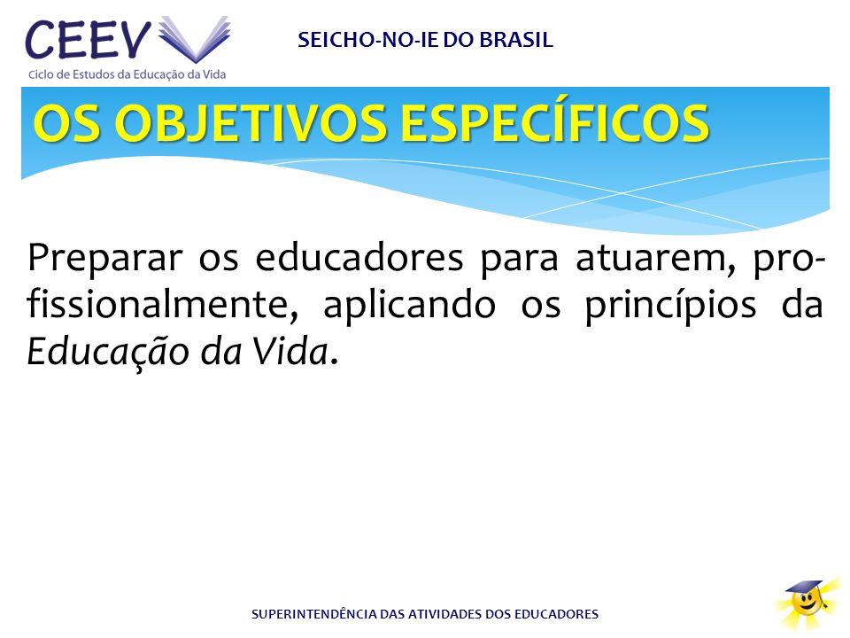 SEICHO-NO-IE DO BRASIL SUPERINTENDÊNCIA DAS ATIVIDADES DOS EDUCADORES Preparar os educadores para atuarem, pro- fissionalmente, aplicando os princípio