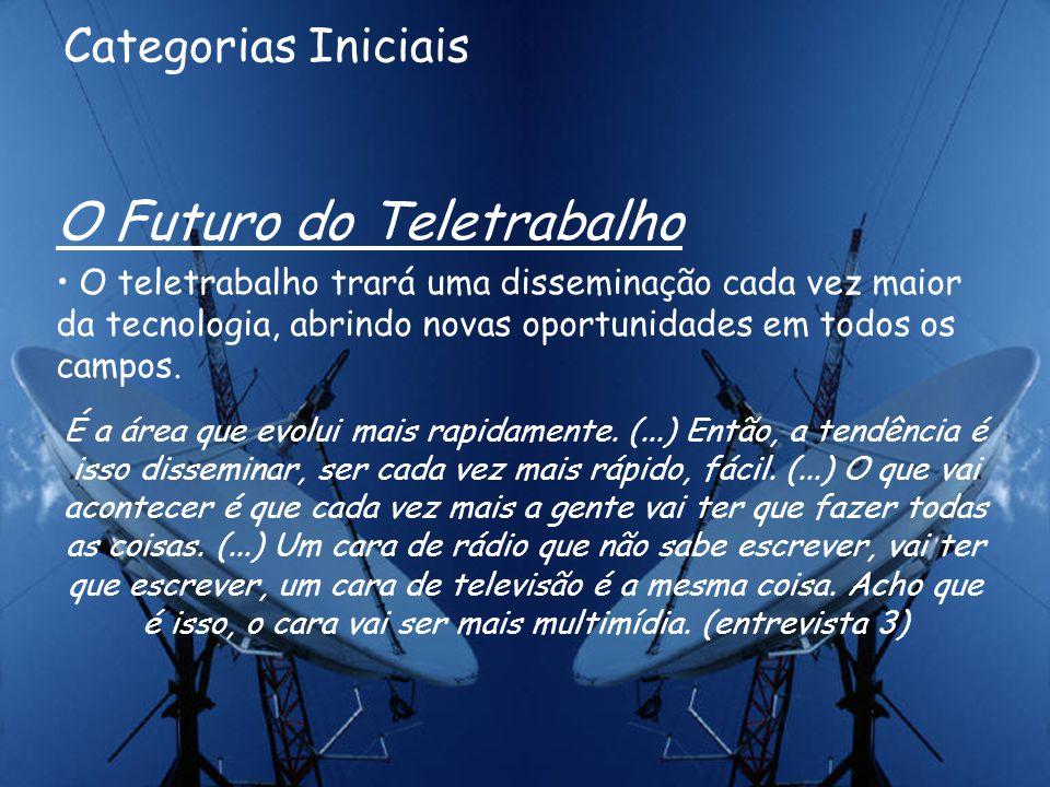 Categorias Intermediárias Vantagens do Teletrabalho As principais transformações na atividade jornalística, geradas pelo teletrabalho: libertador dos repórteres, maior precisão e rapidez, descentralização das redações.