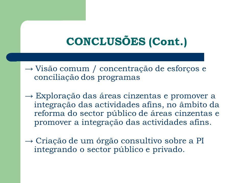 CONCLUSÕES (Cont.) → Visão comum / concentração de esforços e conciliação dos programas → Exploração das áreas cinzentas e promover a integração das a