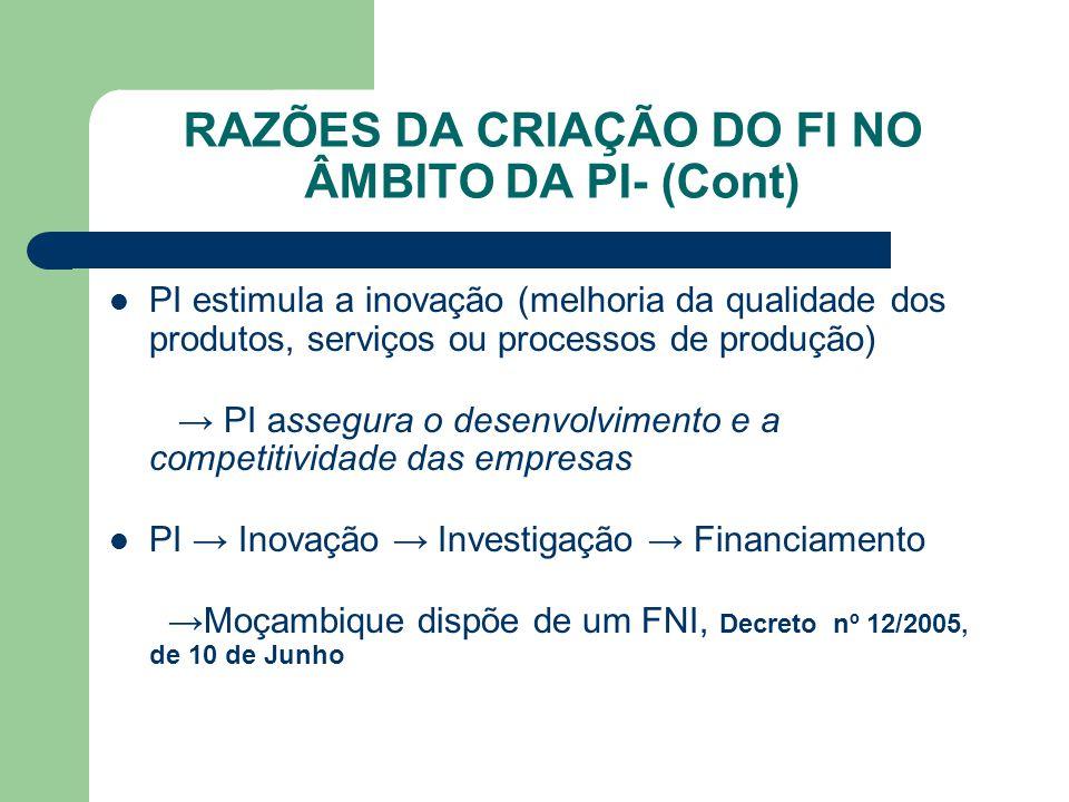 RAZÕES DA CRIAÇÃO DO FI NO ÂMBITO DA PI- (Cont) PI estimula a inovação (melhoria da qualidade dos produtos, serviços ou processos de produção) → PI as