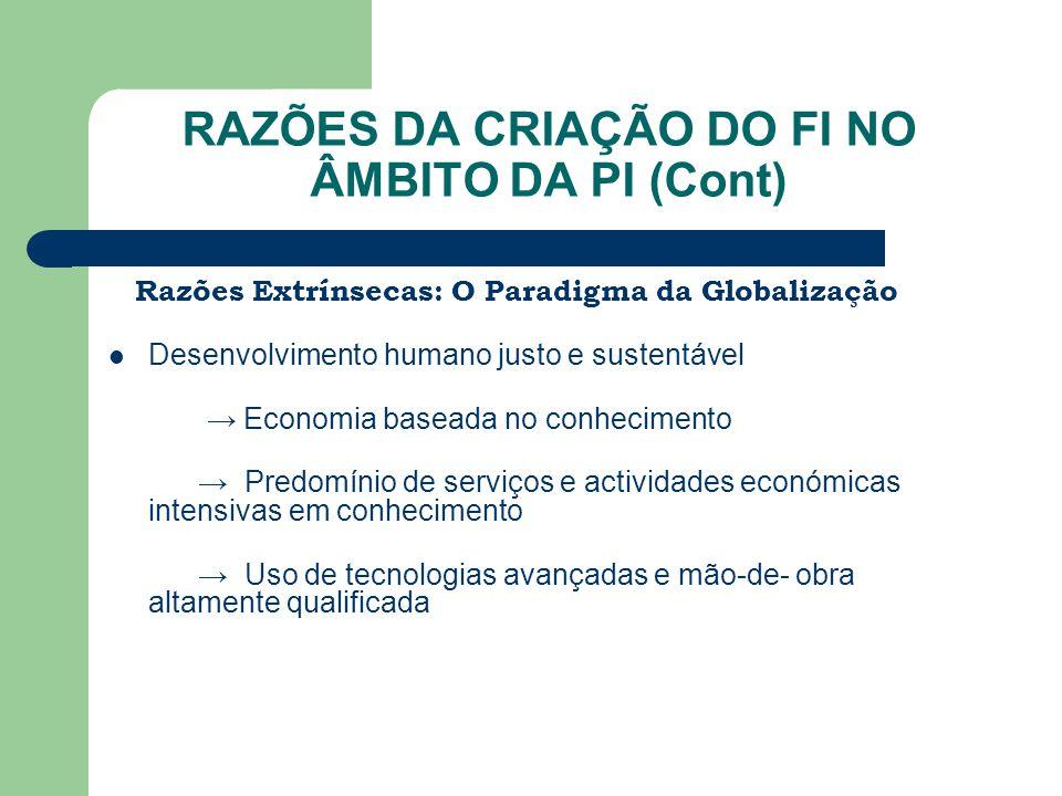 RAZÕES DA CRIAÇÃO DO FI NO ÂMBITO DA PI (Cont) Razões Extrínsecas: O Paradigma da Globalização Desenvolvimento humano justo e sustentável → Economia b