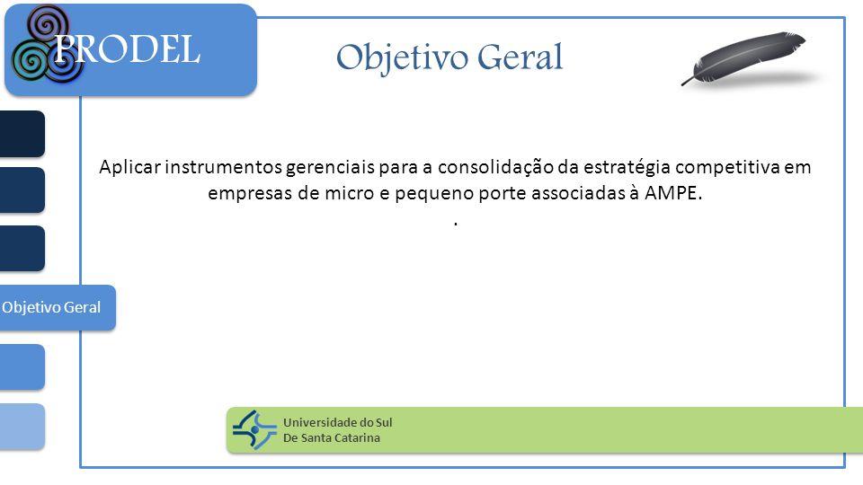 Objetivo Geral Aplicar instrumentos gerenciais para a consolidação da estratégia competitiva em empresas de micro e pequeno porte associadas à AMPE..