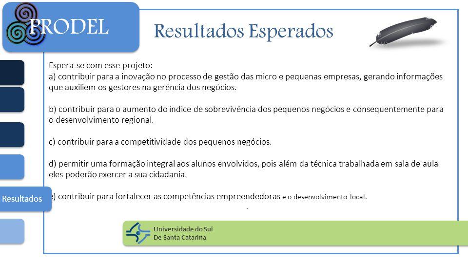 Resultados Esperados Espera-se com esse projeto: a) contribuir para a inovação no processo de gestão das micro e pequenas empresas, gerando informaçõe