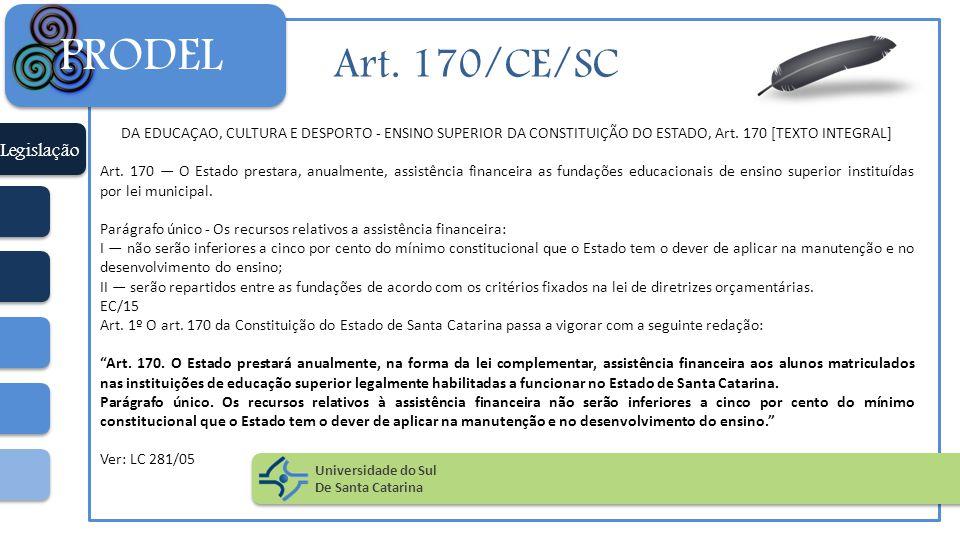 Art. 170/CE/SC DA EDUCAÇAO, CULTURA E DESPORTO - ENSINO SUPERIOR DA CONSTITUIÇÃO DO ESTADO, Art. 170 [TEXTO INTEGRAL] Art. 170 — O Estado prestara, an
