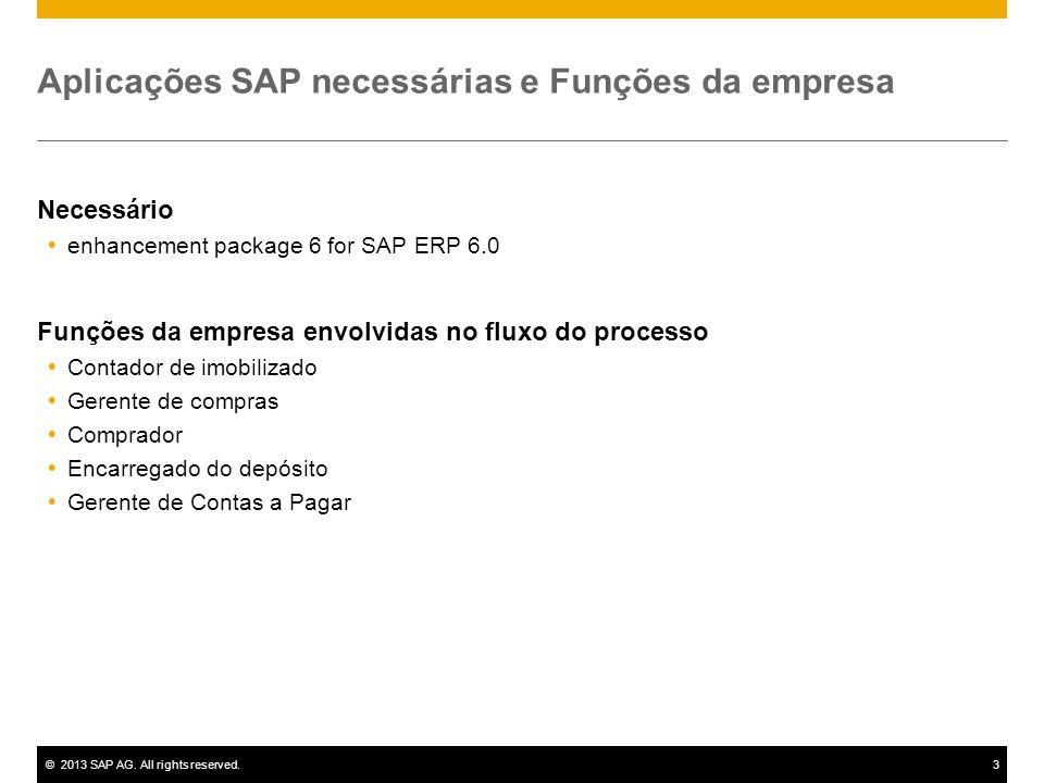©2013 SAP AG. All rights reserved.3 Aplicações SAP necessárias e Funções da empresa Necessário  enhancement package 6 for SAP ERP 6.0 Funções da empr