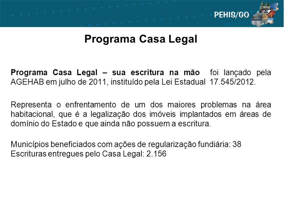 Programa Casa Legal Programa Casa Legal – sua escritura na mão foi lançado pela AGEHAB em julho de 2011, instituído pela Lei Estadual 17.545/2012. Rep