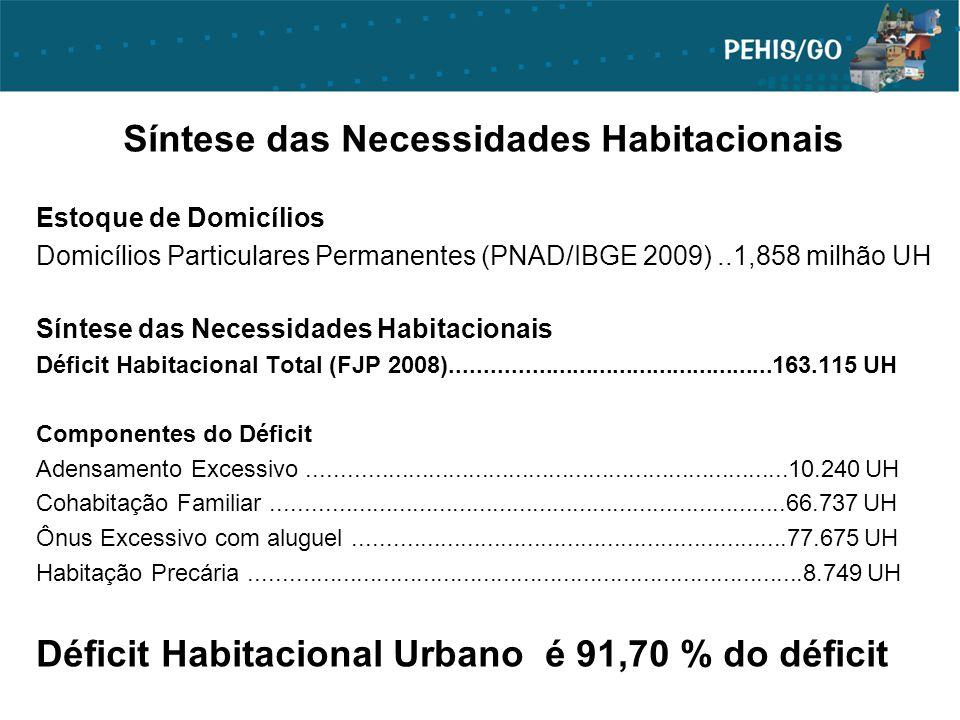 Síntese das Necessidades Habitacionais Estoque de Domicílios Domicílios Particulares Permanentes (PNAD/IBGE 2009)..1,858 milhão UH Síntese das Necessi