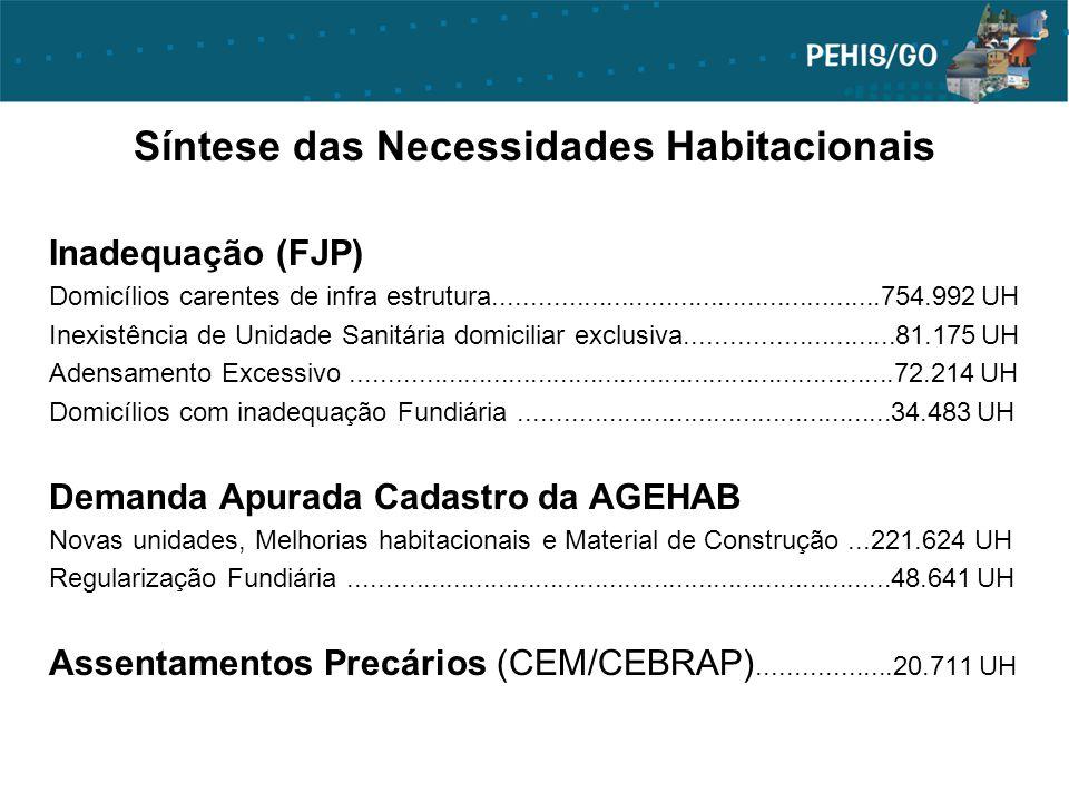 Síntese das Necessidades Habitacionais Inadequação (FJP) Domicílios carentes de infra estrutura....................................................754