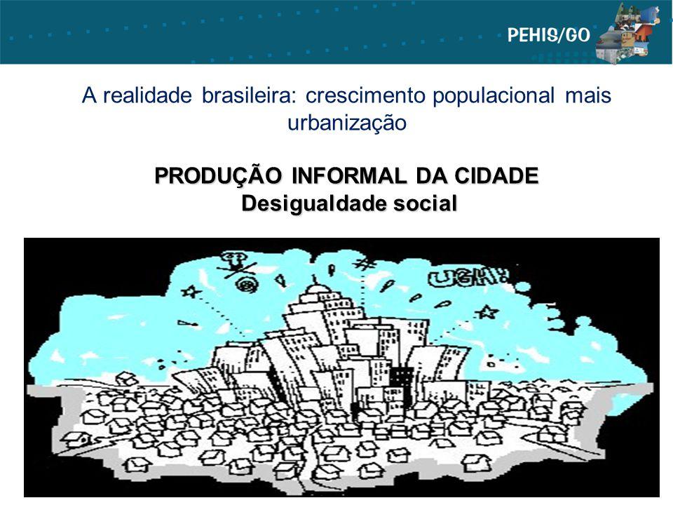 PRODUÇÃO INFORMAL DA CIDADE Desigualdade social A realidade brasileira: crescimento populacional mais urbanização PRODUÇÃO INFORMAL DA CIDADE Desigual