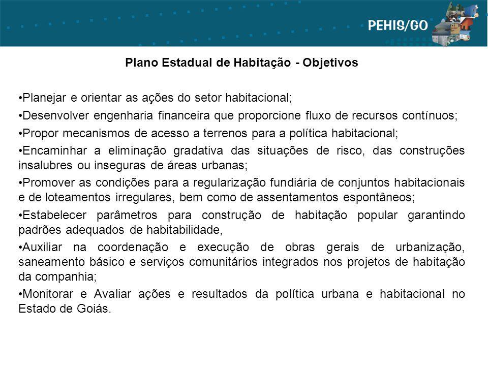 Plano Estadual de Habitação - Objetivos Planejar e orientar as ações do setor habitacional; Desenvolver engenharia financeira que proporcione fluxo de