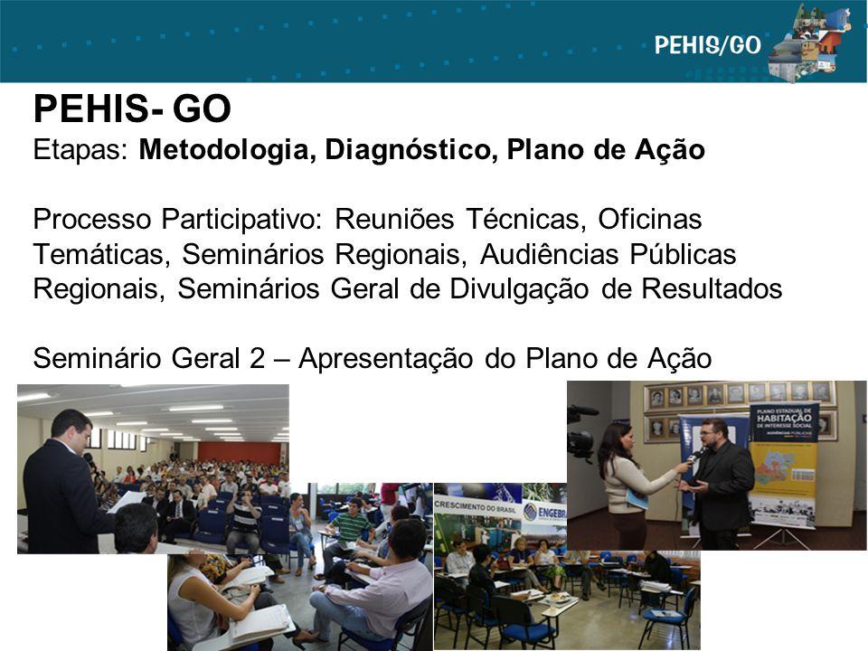 PEHIS- GO Etapas: Metodologia, Diagnóstico, Plano de Ação Processo Participativo: Reuniões Técnicas, Oficinas Temáticas, Seminários Regionais, Audiênc