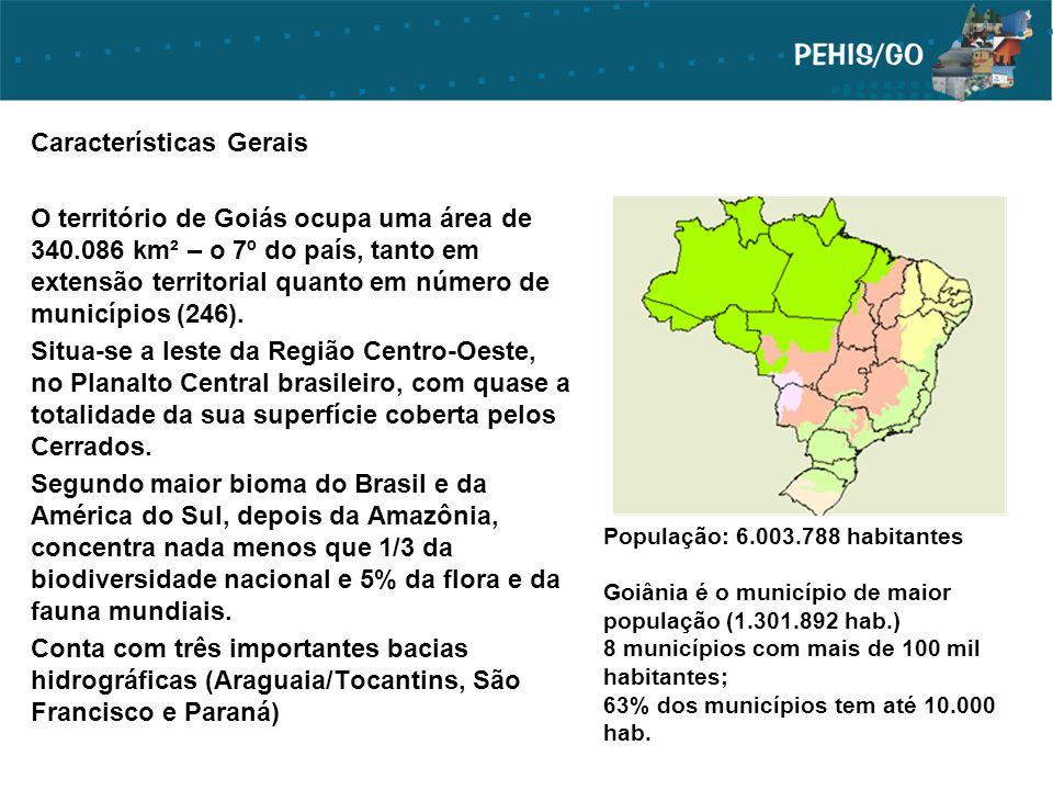 População: 6.003.788 habitantes Goiânia é o município de maior população (1.301.892 hab.) 8 municípios com mais de 100 mil habitantes; 63% dos municíp