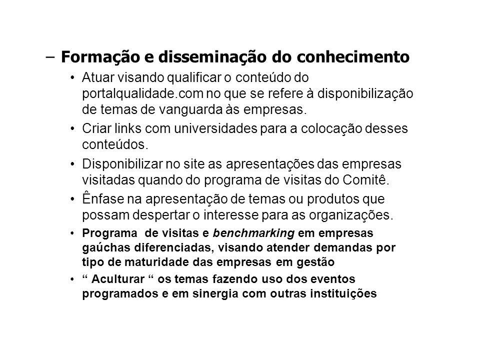 –Formação e disseminação do conhecimento Atuar visando qualificar o conteúdo do portalqualidade.com no que se refere à disponibilização de temas de vanguarda às empresas.