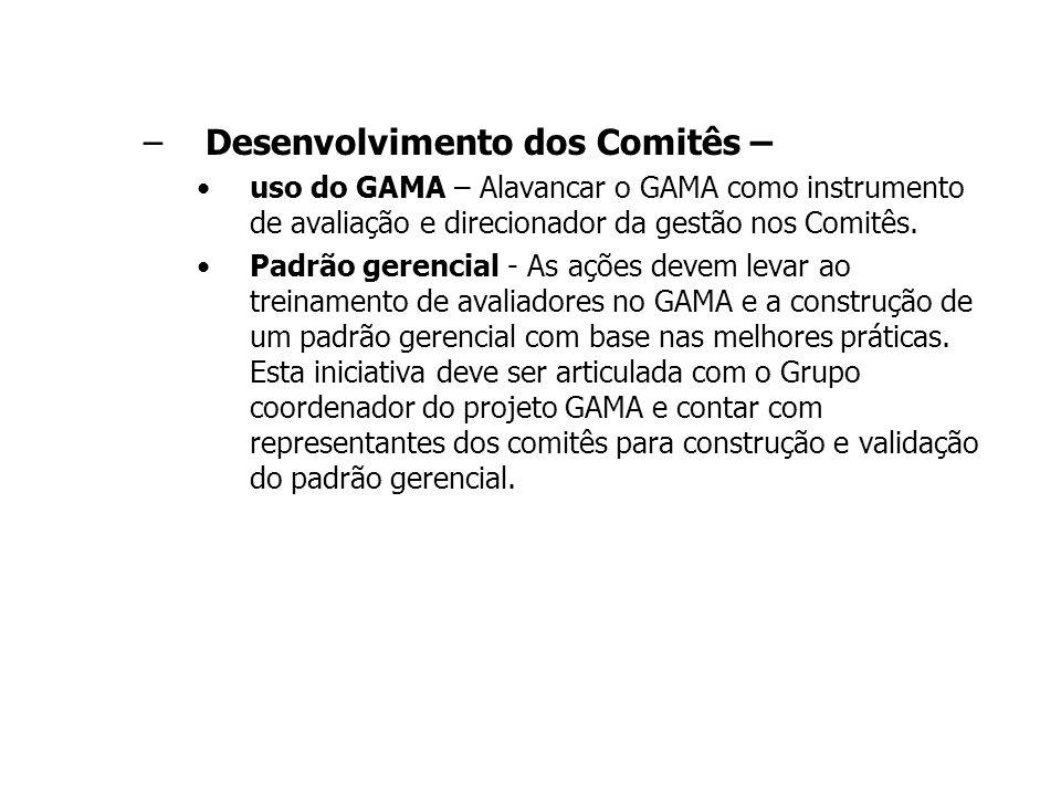 –Desenvolvimento dos Comitês – uso do GAMA – Alavancar o GAMA como instrumento de avaliação e direcionador da gestão nos Comitês. Padrão gerencial - A