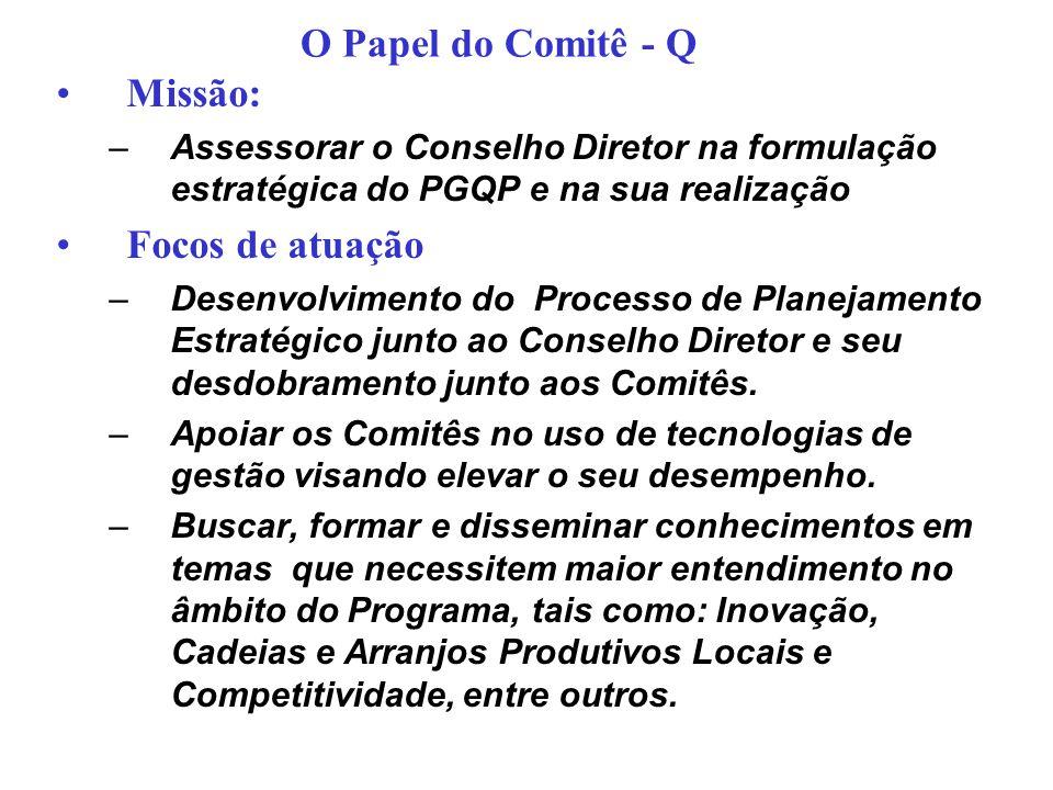 Missão: –Assessorar o Conselho Diretor na formulação estratégica do PGQP e na sua realização Focos de atuação –Desenvolvimento do Processo de Planejam