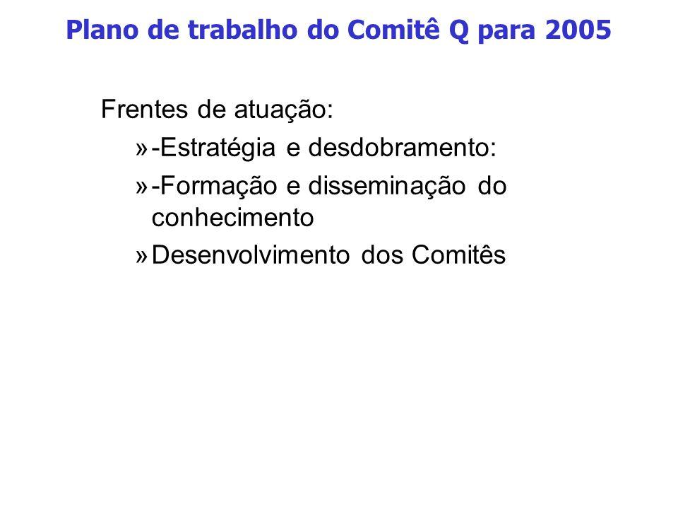 Plano de trabalho do Comitê Q para 2005 Frentes de atuação: »-Estratégia e desdobramento: »-Formação e disseminação do conhecimento »Desenvolvimento dos Comitês