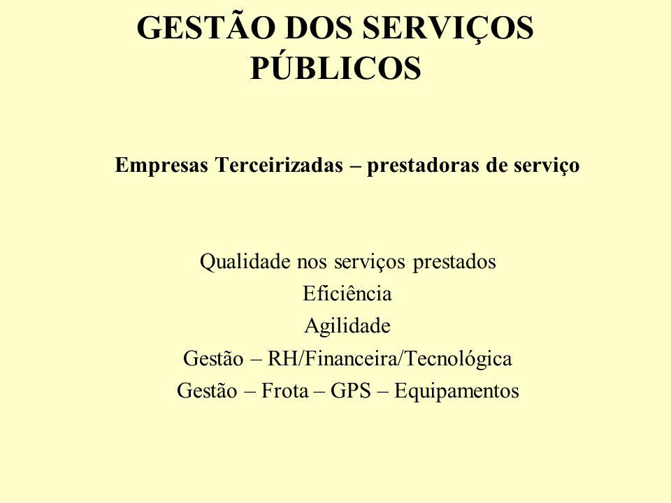 GESTÃO DOS SERVIÇOS PÚBLICOS Empresas Terceirizadas – prestadoras de serviço Qualidade nos serviços prestados Eficiência Agilidade Gestão – RH/Finance