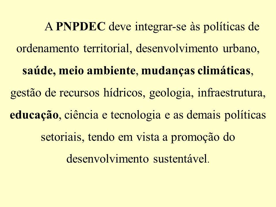 A PNPDEC deve integrar-se às políticas de ordenamento territorial, desenvolvimento urbano, saúde, meio ambiente, mudanças climáticas, gestão de recurs