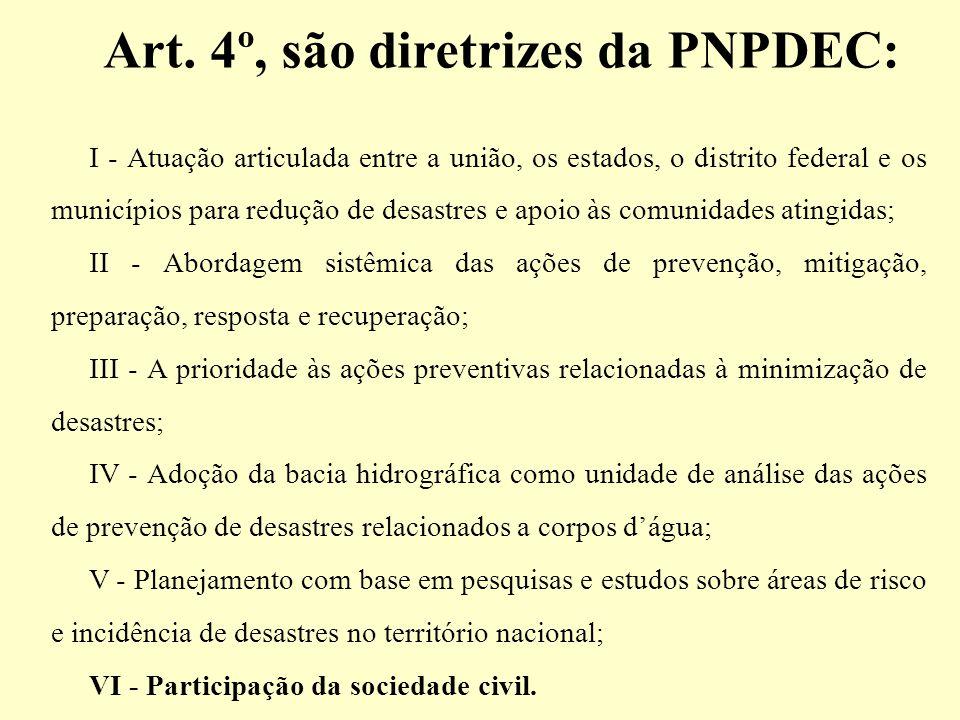 Art. 4º, são diretrizes da PNPDEC: I - Atuação articulada entre a união, os estados, o distrito federal e os municípios para redução de desastres e ap