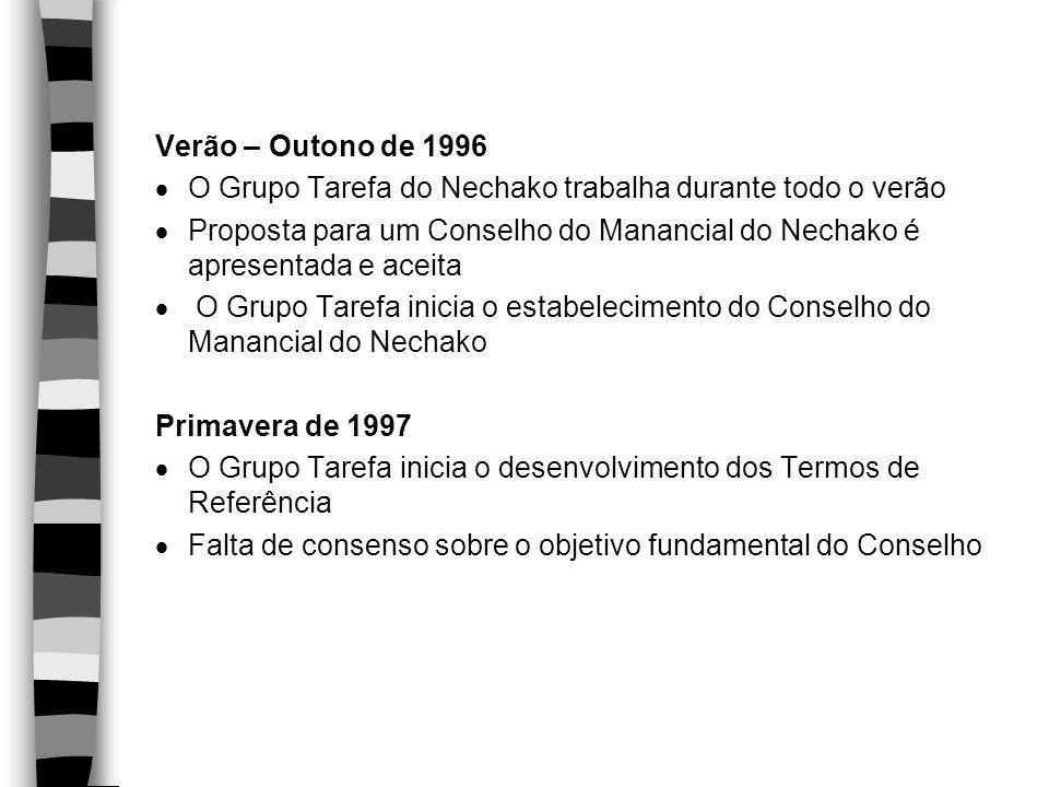 Verão – Outono de 1996  O Grupo Tarefa do Nechako trabalha durante todo o verão  Proposta para um Conselho do Manancial do Nechako é apresentada e a