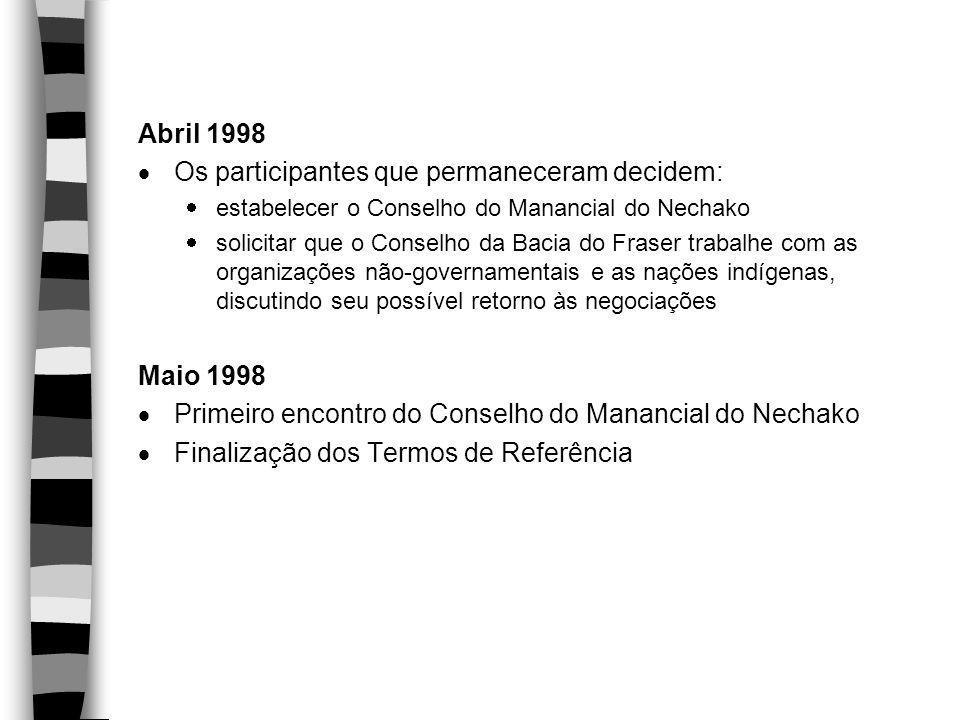 Abril 1998  Os participantes que permaneceram decidem:  estabelecer o Conselho do Manancial do Nechako  solicitar que o Conselho da Bacia do Fraser