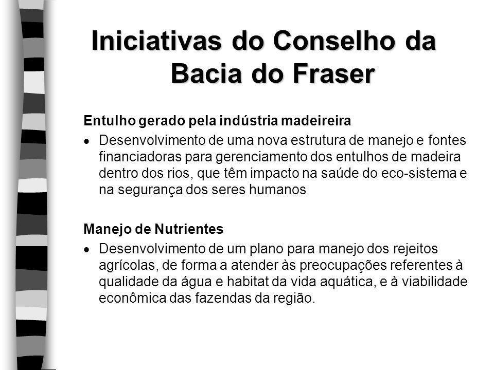 Iniciativas do Conselho da Bacia do Fraser Entulho gerado pela indústria madeireira  Desenvolvimento de uma nova estrutura de manejo e fontes financi