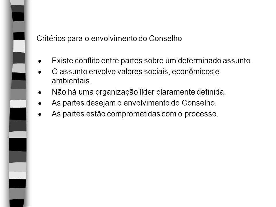 Critérios para o envolvimento do Conselho  Existe conflito entre partes sobre um determinado assunto.  O assunto envolve valores sociais, econômicos