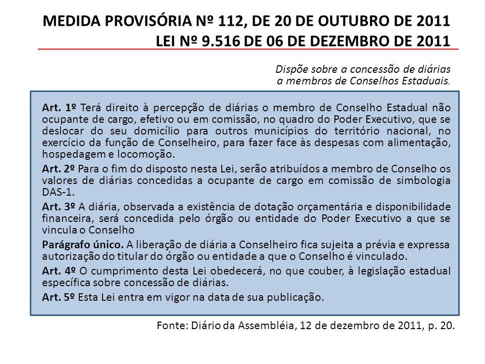 MEDIDA PROVISÓRIA Nº 112, DE 20 DE OUTUBRO DE 2011 LEI Nº 9.516 DE 06 DE DEZEMBRO DE 2011 Dispõe sobre a concessão de diárias a membros de Conselhos Estaduais.