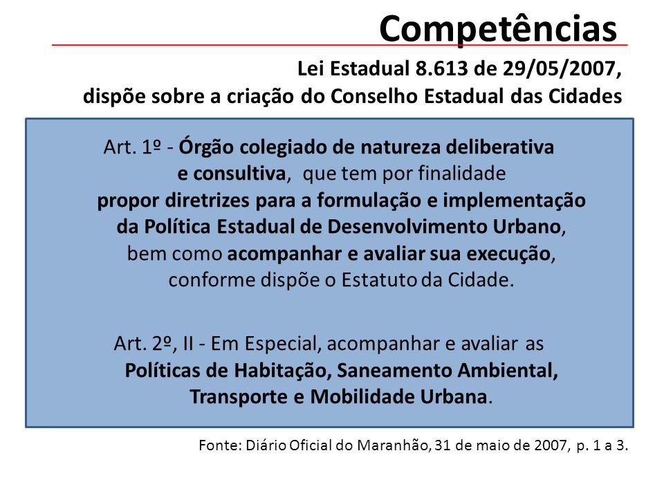 Lei Estadual 8.613 de 29/05/2007, dispõe sobre a criação do Conselho Estadual das Cidades Art.