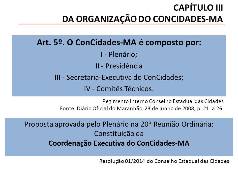 CAPÍTULO III DA ORGANIZAÇÃO DO CONCIDADES-MA Art. 5º.
