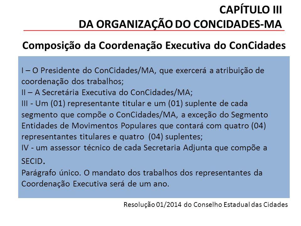 CAPÍTULO III DA ORGANIZAÇÃO DO CONCIDADES-MA I – O Presidente do ConCidades/MA, que exercerá a atribuição de coordenação dos trabalhos; II – A Secretária Executiva do ConCidades/MA; III - Um (01) representante titular e um (01) suplente de cada segmento que compõe o ConCidades/MA, a exceção do Segmento Entidades de Movimentos Populares que contará com quatro (04) representantes titulares e quatro (04) suplentes; IV - um assessor técnico de cada Secretaria Adjunta que compõe a SECID.