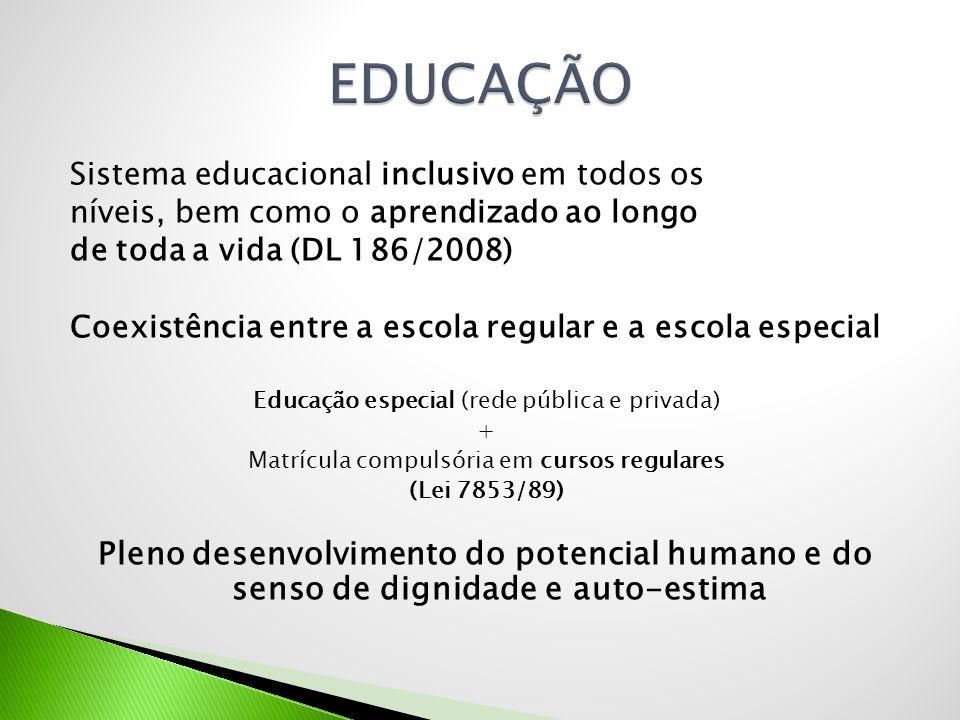 Sistema educacional inclusivo em todos os níveis, bem como o aprendizado ao longo de toda a vida (DL 186/2008) Coexistência entre a escola regular e a