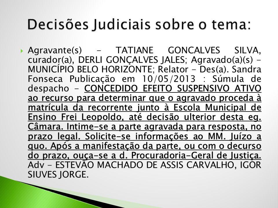  Agravante(s) - TATIANE GONCALVES SILVA, curador(a), DERLI GONÇALVES JALES; Agravado(a)(s) - MUNICÍPIO BELO HORIZONTE; Relator - Des(a). Sandra Fonse