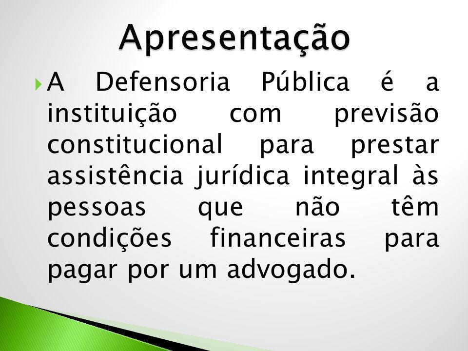  A Defensoria Pública é a instituição com previsão constitucional para prestar assistência jurídica integral às pessoas que não têm condições finance