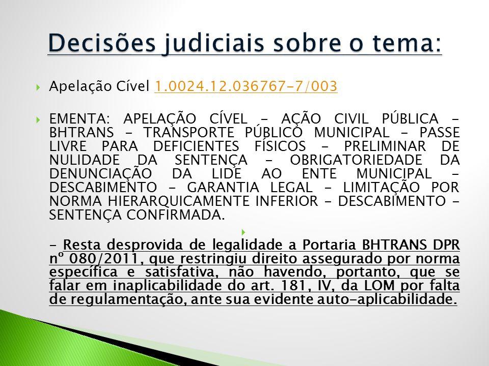  Apelação Cível 1.0024.12.036767-7/0031.0024.12.036767-7/003  EMENTA: APELAÇÃO CÍVEL - AÇÃO CIVIL PÚBLICA - BHTRANS - TRANSPORTE PÚBLICO MUNICIPAL -