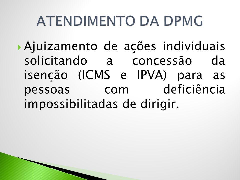  Ajuizamento de ações individuais solicitando a concessão da isenção (ICMS e IPVA) para as pessoas com deficiência impossibilitadas de dirigir.