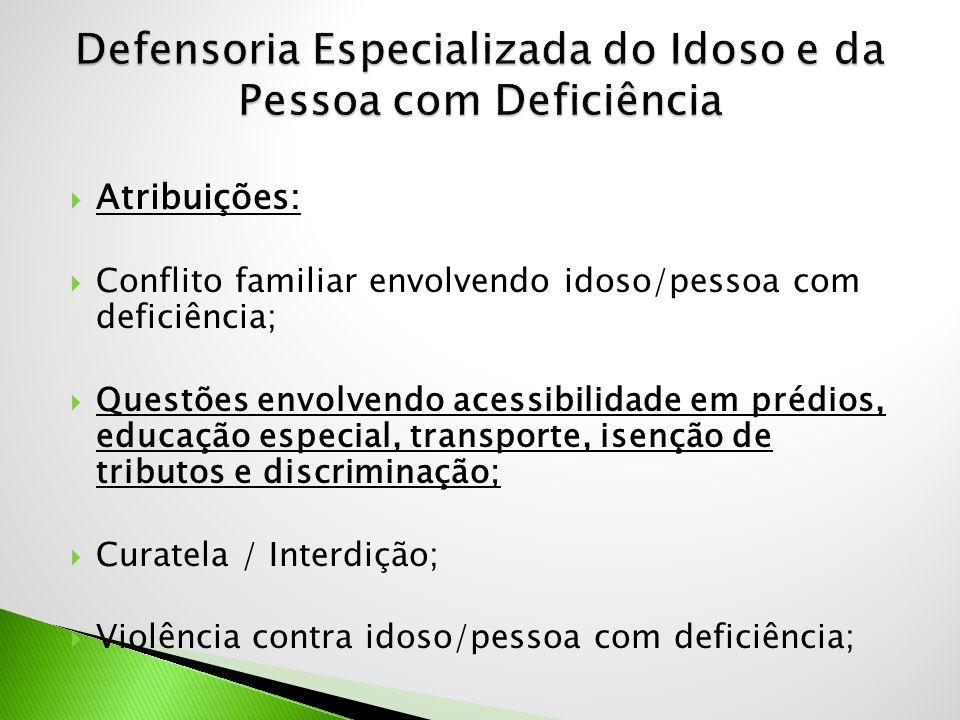  Atribuições:  Conflito familiar envolvendo idoso/pessoa com deficiência;  Questões envolvendo acessibilidade em prédios, educação especial, transp