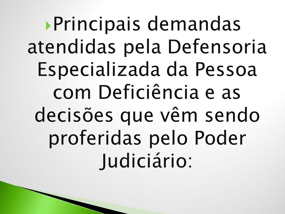  Principais demandas atendidas pela Defensoria Especializada da Pessoa com Deficiência e as decisões que vêm sendo proferidas pelo Poder Judiciário: