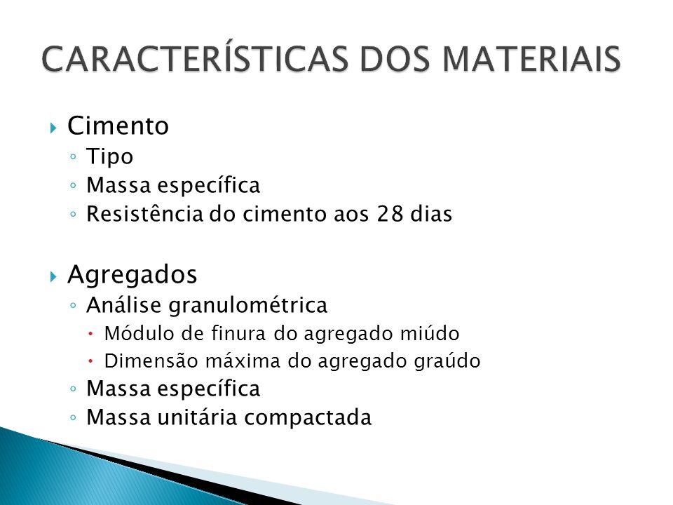  Cimento ◦ Tipo ◦ Massa específica ◦ Resistência do cimento aos 28 dias  Agregados ◦ Análise granulométrica  Módulo de finura do agregado miúdo  D
