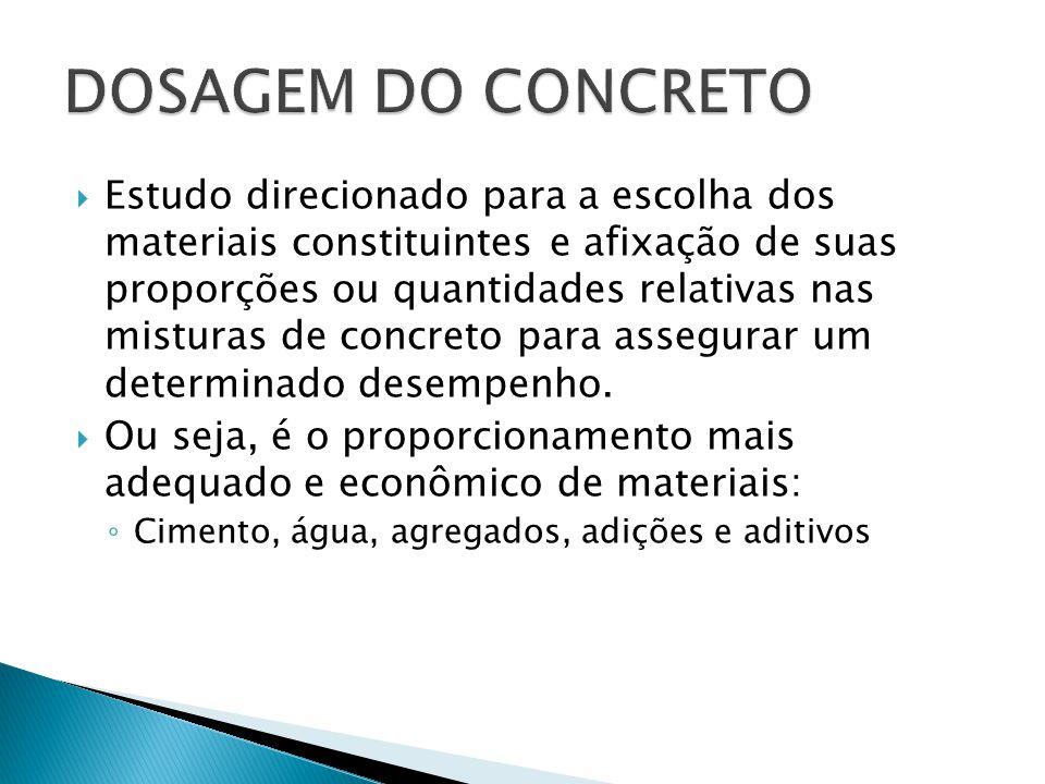  Estudo direcionado para a escolha dos materiais constituintes e afixação de suas proporções ou quantidades relativas nas misturas de concreto para a