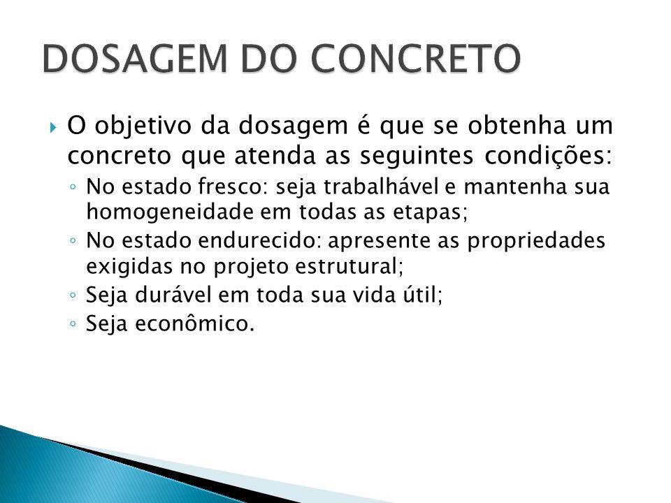  O objetivo da dosagem é que se obtenha um concreto que atenda as seguintes condições: ◦ No estado fresco: seja trabalhável e mantenha sua homogeneid