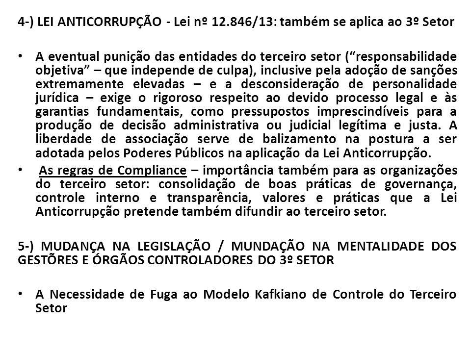 """4-) LEI ANTICORRUPÇÃO - Lei nº 12.846/13: também se aplica ao 3º Setor A eventual punição das entidades do terceiro setor (""""responsabilidade objetiva"""""""